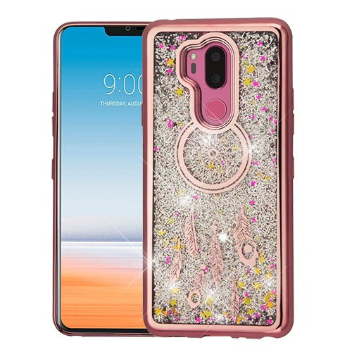 Airium Quicksand Glitter Hybrid Protector Cover for Lg G710 (G7 Thinq) - Rose Gold Electroplating / Dreamcatcher / Silver Confetti