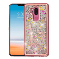 Airium Quicksand Glitter Hybrid Protector Cover for Lg G710 (G7 Thinq) - Rose Gold Electroplating / Eiffel Tower / Silver Confetti