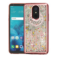Airium Quicksand Glitter Hybrid Protector Cover for Lg Stylo 4 - Rose Gold Electroplating / Dreamcatcher / Silver Confetti
