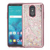 Airium Quicksand Glitter Hybrid Protector Cover for Lg Stylo 4 - Rose Gold Electroplating / Eiffel Tower / Silver Confetti