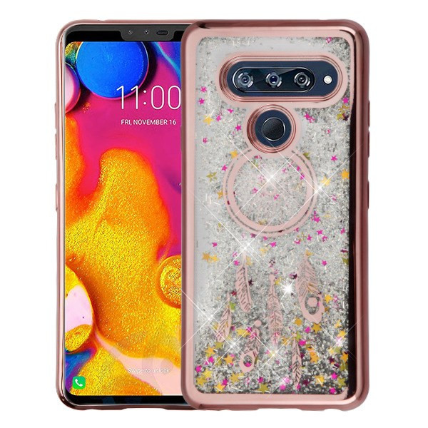 Airium Quicksand Glitter Hybrid Protector Cover for Lg V40 ThinQ - Rose Gold Electroplating / Dreamcatcher / Silver Confetti