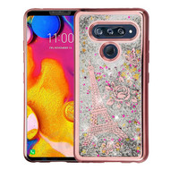 Airium Quicksand Glitter Hybrid Protector Cover for Lg V40 ThinQ - Rose Gold Electroplating / Eiffel Tower / Silver Confetti