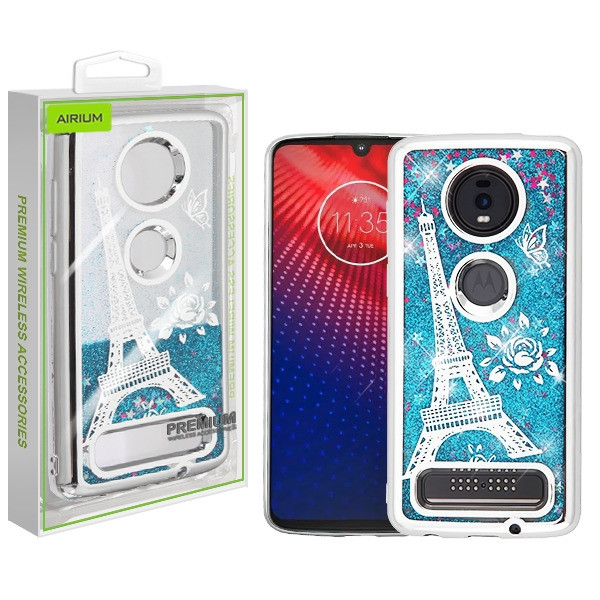 Airium Quicksand Glitter Hybrid Protector Cover for Motorola Moto Z4 - Silver Electroplating / Eiffel Tower / Blue