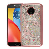 Airium Quicksand Glitter Hybrid Protector Cover for Motorola XT1773 (Moto E4 Plus) - Rose Gold Electroplating / Eiffel Tower / Silver Confetti