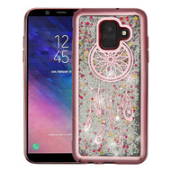 Airium Quicksand Glitter Hybrid Protector Cover for Samsung Galaxy A6 (2018) - Rose Gold Electroplating / Dreamcatcher / Silver Confetti