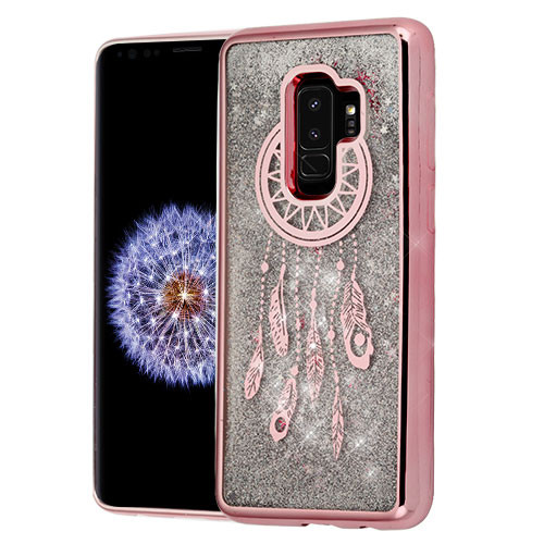 Airium Quicksand Glitter Hybrid Protector Cover for Samsung Galaxy S9 Plus - Rose Gold Electroplating / Dreamcatcher / Silver