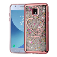 Airium Quicksand Glitter Hybrid Protector Cover for Samsung J337 (Galaxy J3 (2018)) - Rose Gold Electroplating / Love Hearts / Silver Confetti