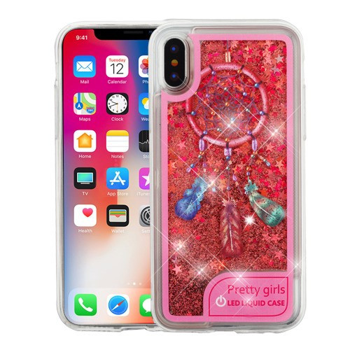 Airium Quicksand Glitter Hybrid Protector Cover for Apple iPhone XS/X - Pink Dreamcatcher / Rose Gold (Stars) Flashing LED Light