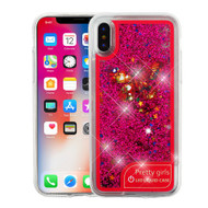 Airium Quicksand Glitter Hybrid Protector Cover for Apple iPhone XS/X - Colorful Butterfly / Hot Pink Confetti Flashing LED Light