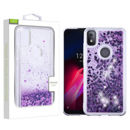 Airium Quicksand Glitter Hybrid Protector Cover for T-mobile REVVL 4 - Hearts & Purple