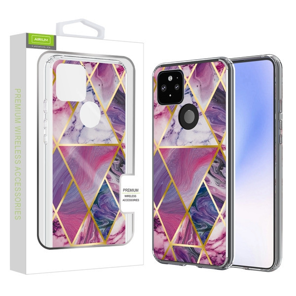 Airium Fusion Protector Case for Google Pixel 5 XL - Electroplated Purple Marbling