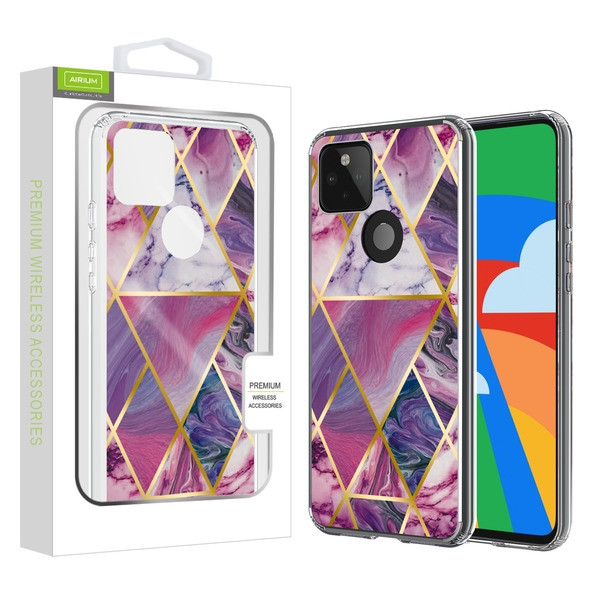 Airium Fusion Protector Case for Google Pixel 5 - Electroplated Purple Marbling