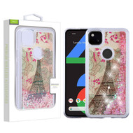 Airium Quicksand Glitter Hybrid Protector Cover for Google Pixel 4a - Eiffel Tower & Pink Hearts