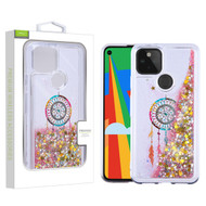 Airium Quicksand Glitter Hybrid Protector Cover for Google Pixel 5 - Dreamcatcher & Gold Stars