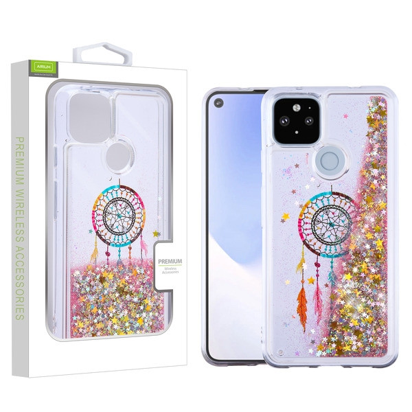 Airium Quicksand Glitter Hybrid Protector Cover for Google Pixel 5 XL - Dreamcatcher & Gold Stars