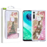 Airium Quicksand Glitter Hybrid Protector Cover for Motorola Moto G Fast - Eiffel Tower & Pink Hearts