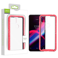 Airium Splash Hybrid Case for T-mobile Revvl 4+ - Highly Transparent Clear / Red