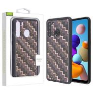 Airium Hybrid Case for Samsung Galaxy A21 - Carbon Fiber Texture / Black