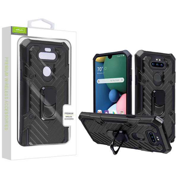 Airium Hybrid Case (with Ring Stand) for Lg K31 (Aristo 5)/Fortune 3 - Black / Black