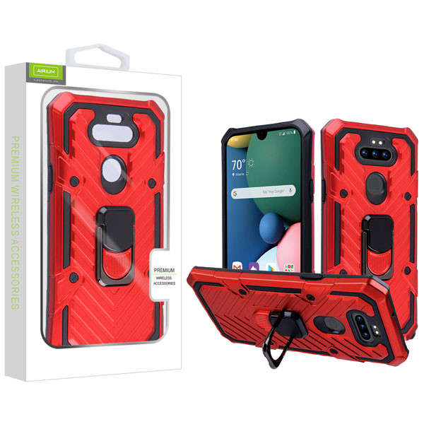 Airium Hybrid Case (with Ring Stand) for Lg K31 (Aristo 5)/Fortune 3 - Red / Black