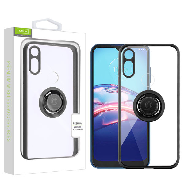 Airium Hybrid Case (with Ring Stand) for Motorola Moto E (2020) - Transparent Clear / Black