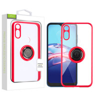 Airium Hybrid Case (with Ring Stand) for Motorola Moto E (2020) - Transparent Clear / Red