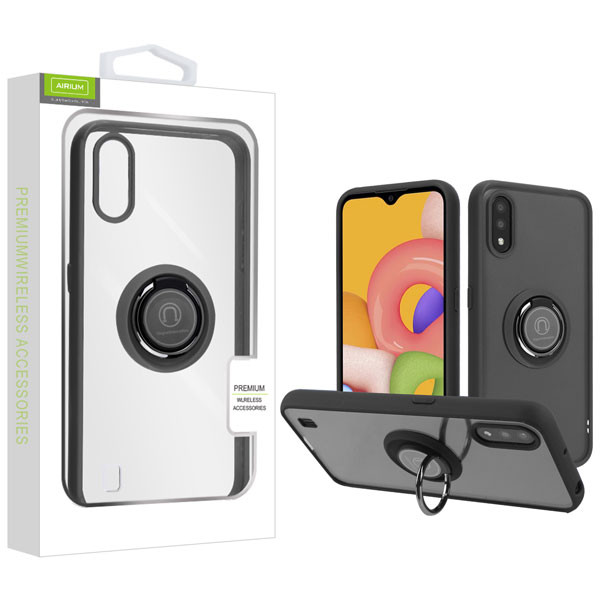 Airium Hybrid Case (with Ring Stand) for Samsung Galaxy A01 - Transparent Clear / Black