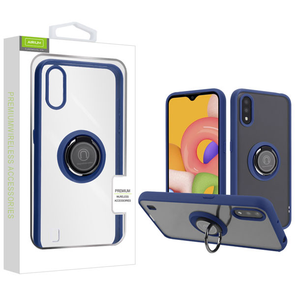 Airium Hybrid Case (with Ring Stand) for Samsung Galaxy A01 - Transparent Clear / Blue