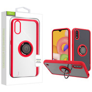 Airium Hybrid Case (with Ring Stand) for Samsung Galaxy A01 - Transparent Clear / Red