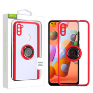Airium Hybrid Case (with Ring Stand) for Samsung Galaxy A11 - Transparent Clear / Red