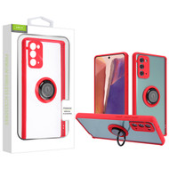 Airium Hybrid Case (with Ring Stand) for Samsung Galaxy Note 20 - Transparent Clear / Red