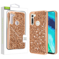Airium Encrusted Rhinestones Hybrid Case for Motorola Moto G Fast - Electroplated Rose Gold / Rose Gold