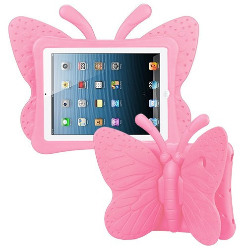 Airium Butterfly Kids Drop-resistant Protector Cover for Apple iPad Air (A1474,A1475,A1476) - Pink