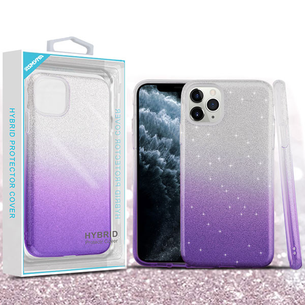 Asmyna Gradient Glitter Hybrid Protector Cover for Apple iPhone 11 Pro - Purple