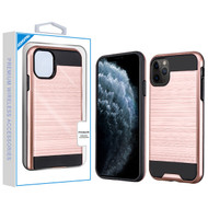 Asmyna Brushed Hybrid Protector Cover for Apple iPhone 11 Pro - Rose Gold / Black