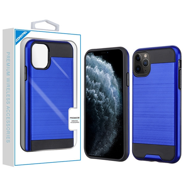 Asmyna Brushed Hybrid Protector Cover for Apple iPhone 11 Pro - Dark Blue / Black