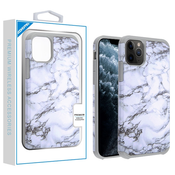 Asmyna Astronoot Protector Cover for Apple iPhone 11 Pro - White Marbling / Iron Grey
