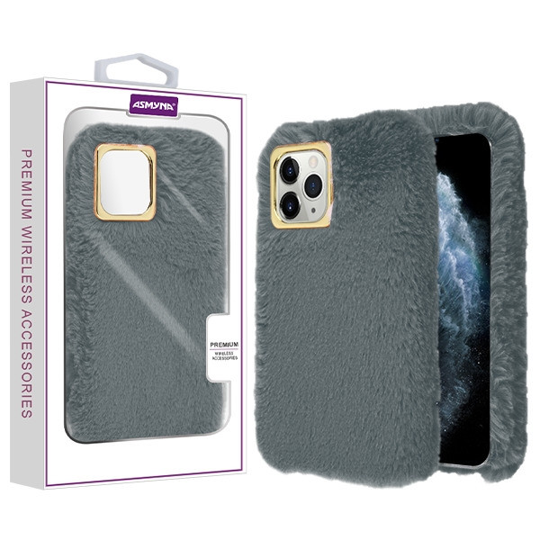 Asmyna Plush Protector Cover for Apple iPhone 11 Pro - Dark Grey Cute