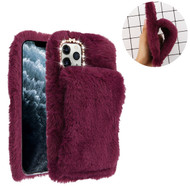 Asmyna Plush Hand Warmer Protector Cover for Apple iPhone 11 Pro - Burgundy