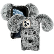 Asmyna Plush Cartoon Dog Protector Cover for Apple iPhone 11 Pro - Dark Grey Cute
