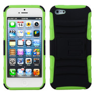 Asmyna Advanced Armor Stand Protector Cover for Apple iPhone 5s/5 - Black / Electric Green