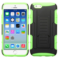 Asmyna Car Armor Stand Protector Cover (Rubberized) for Apple iPhone 6s/6 - Black / Electric Green