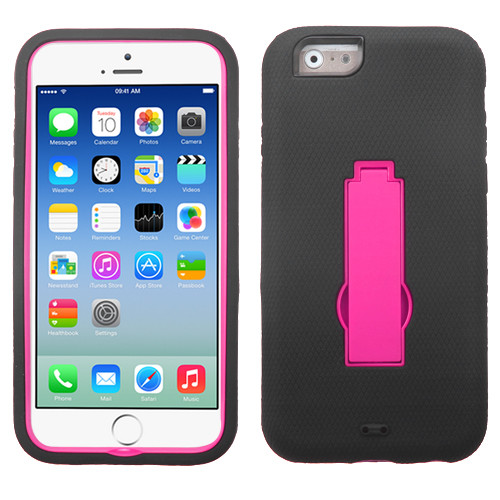 Asmyna Symbiosis Stand Protector Cover for Apple iPhone 6s/6 - Hot Pink / Black
