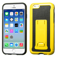 Asmyna Leather Backing/Black Advanced Armor Stand Protector Cover for Apple iPhone 6s/6 - Yellow / Black