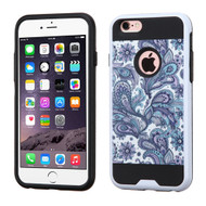Asmyna Brushed Hybrid Protector Cover for Apple iPhone 6s Plus/6 Plus - Purple European Flowers / Black