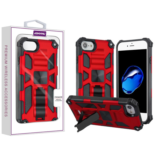 Asmyna Sturdy Hybrid Protector Cover (with Stand) for Apple iPhone 8/7 - Red / Black