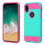 Asmyna Brushed Hybrid Protector Cover for Apple iPhone XS/X - Teal Green / Hot Pink