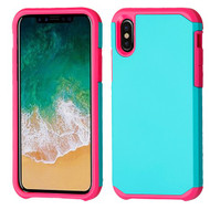 Asmyna Astronoot Protector Cover for Apple iPhone XS/X - Teal Green / Hot Pink