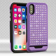 Asmyna Diamante FullStar Protector Cover for Apple iPhone XS/X - Purple / Black