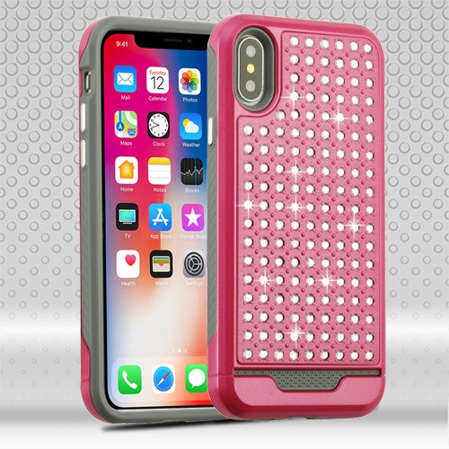 Asmyna Diamante FullStar Protector Cover for Apple iPhone XS/X - Hot Pink / Iron Gray